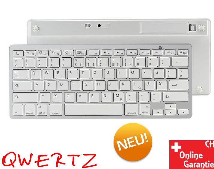 Universal Bluetooth 3.0 Tastatur Keyboard Batteriebetrieben Weiss Tablet Handy Computer QWERTZ iPad iOS Android Sonstige