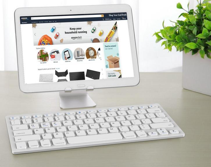 Universal Bluetooth 3.0 Tastatur Keyboard Batteriebetrieben Weiss Tablet Handy Computer QWERTZ iPad iOS Android Sonstige 2