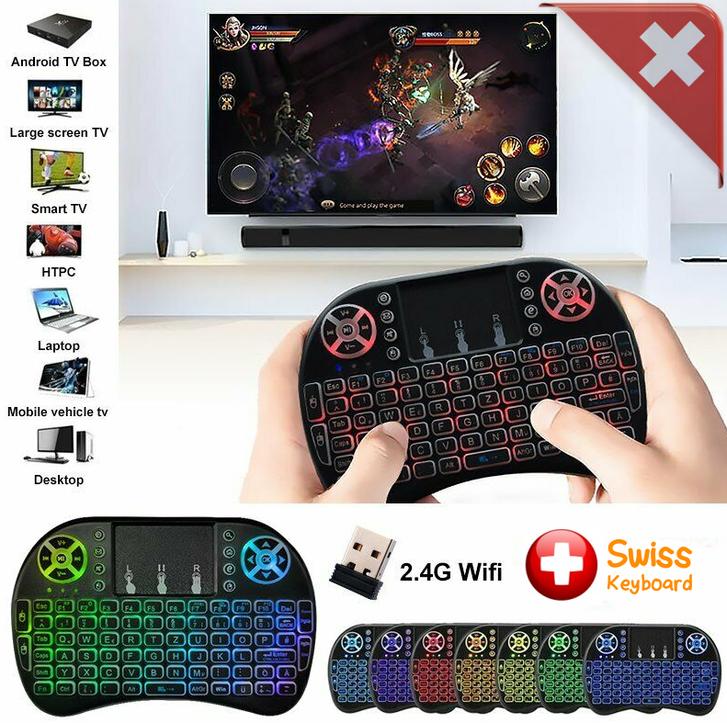 Universal Mini 2.4GHz Wireless Tastatur CH DE Tastaturlayout QWERTZ Keyboard Touchpad Apple iPad macOS Android Tablet TV SmartTV Smartphone Handy PC Notebook TV & Audio