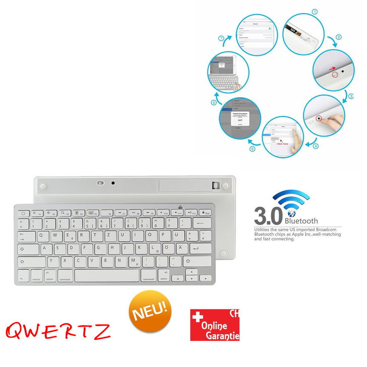 Universal Mini QWERTZ Deutsch Tastatur Keyboard Wireless Drahtlos Slim Design mit Bluetooth Funktion wie TV, iPhone, iPad, macOS, Samsung Galaxy Tab Serie, PC, Laptop, Smartphones, Tablets, usw... TV & Audio