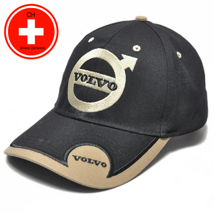 Volvo Cap Mütze Kappe Auto Fan Artikel Accessoire Schwarz Beige Kleidung & Accessoires