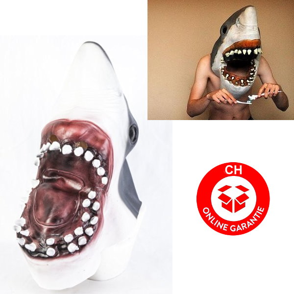 Weisser Hai Haimaske Tiermaske Horror Jaws Fasnacht Halloween Kleidung & Accessoires