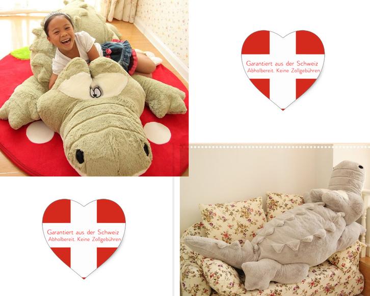 XXL Plüschtier Krokodil Alligator - 200 cm Plüschkrokodil Stoffkrokodil riesen-Gross in grau Geschenk Kind Kinder Frau Freundin Baby & Kind 2