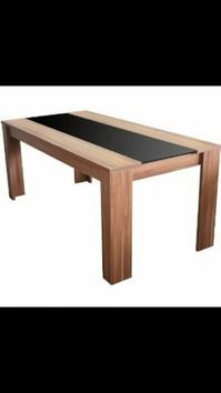 Esstisch, Holz/ schwarze Glasplatte