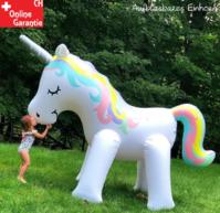 Aufblasbares Einhorn Wasser Sprinkler Wassersprinkler Garten Kinder Unicorn Sommer Garten Wasserspielzeug XXL Schweiz Pool Badi Kind Kinder