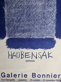 Ausstellungs Plakat Pierre Haubensak  CH 1963 Lausanne Bonnier