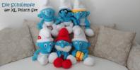 Die Schlümpfe 6er XL Plüschtier Set, Papa Schlumpf, Schlumpfine, Schlaubi 6er Fan Set XXL Geschenk Kind