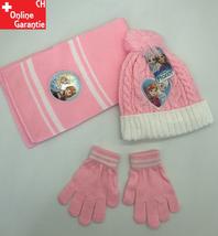 Disney Die Eiskönigin Mütze Beanie Schal und Handschuh Handschuhe Set Fan Mädchen Weiss Pink Rosa