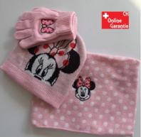 Disney Minnie Maus Minnie Mouse Mütze Cap Beanie Handschuhe Handschuhen Schal Winter Kleidung Set Winterset Kind Mädchen Girl Pink Rosa