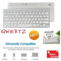 Drahtlose Bluetooth Tastatur QWERTZ Keyboard Schweiz Deutschsprachig Mini Funk Funktastatur Schnurlos iPad iOS Android Tablet Smartphone Handy Natel