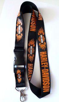 Harley-Davidson Harley Davidson Harley Schlüssel Anhänger Band Schlüsselband Schwarz mit Flammen