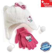 Hello Kitty Hellokitty HK Mütze Beanie Kappe Wintermütze Rosa Bonnel Hellokitty Fan Handschuhe Handschuh Mädchen