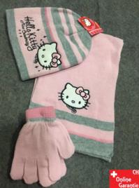 Hello Kitty Kinder Winter-Set 3 tlg. Winter-Mütze, Schal & Handschuhe - Einheitsgrösse für Kinder Mädchen Fan Hellokitty HK