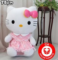 Hello Kitty XXL Plüsch Katze Figur Hellokitty 75cm Plüschtier Geschenk Mädchen Spielzeug Pink XL Gross Süss Herzig