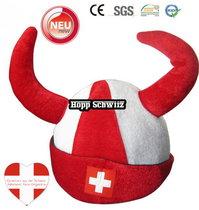 Hopp Schwiiz Fan Hörner Fanhut Hut Mütze Kappe WM Fussball WM EM Teufel Public Viewing Stadion Allez la Suisse