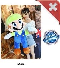 Nintendo Luigi Jumbo Plüsch 100cm XXL Plüschtier Plüschfigur Super Mario Bros. Video Spiel Kult Klempner Spielzeug Plüsch