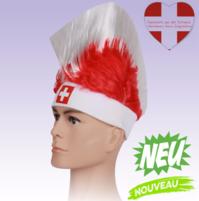 Perücke Schweiz Fussball Fan-Artikel Rot Weiss Schwiiz CH Flagge Perücke Irokese Herren Damen EM WM Punker Fan