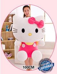Riesengrosses Hello Kitty XXL Plüschtier Katze Plüsch Geschenk Mädchen Hellokitty Pink ca. 100cm