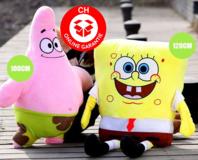 SpongeBob Schwammkopf Plüsch Plüschfigur Kuscheltier Puppe Teddy 100cm Geschenk Kind Fan TV Serie Kino Zuhause Kinderzimmer
