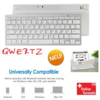 Universal Bluetooth 3.0 Tastatur Keyboard Batteriebetrieben Weiss Tablet Handy Computer QWERTZ iPad iOS Android